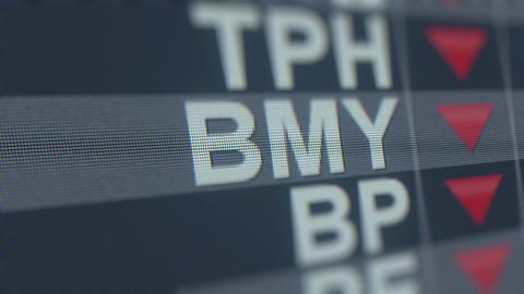 Stock exchange ticker of BRISTOL-MYERS SQUIBB BMY with decreasing arrow GIF