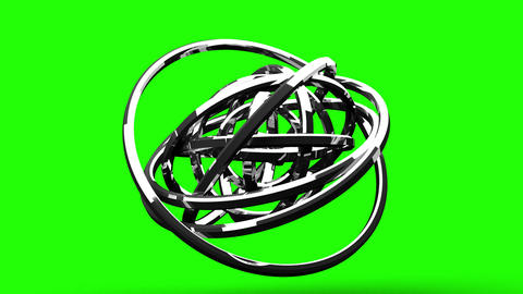 Silver Circle Abstract On Green Chroma Key CG動画