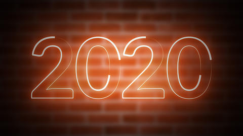 New Year neon sign 2020 on a background of brickwork, computer generated. 3d Archivo