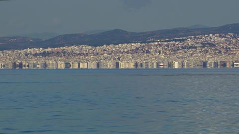 Thessaloniki, Greece landscape coastal view of the city centre GIF