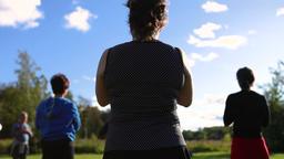 women doing standing meditation Footage
