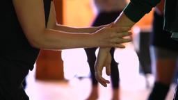 Dancer receives hand and wrist massage Archivo