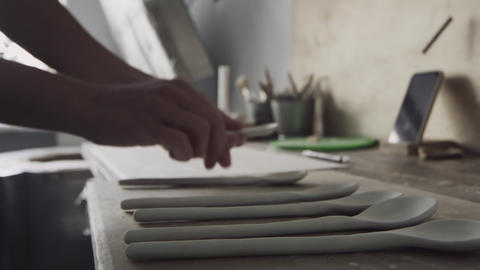Clay spoons for further firing in pottery oven GIF