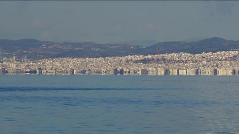Thessaloniki, Greece landscape coastal view of west city area GIF