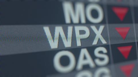 WPX ENERGY WPX stock ticker with decreasing arrow, conceptual Editorial crisis GIF