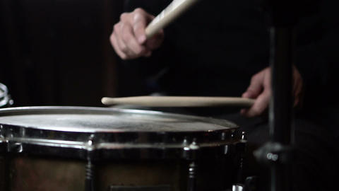 Drummer Playing Drums in Music Studio. Slow Motion in 120 fps GIF