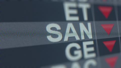 BANCO SANTANDER ADR SAN stock ticker on the screen with decreasing arrow GIF