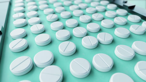 Beautiful Process of Production of Pills Seamless. Looped 3d Animation of ビデオ
