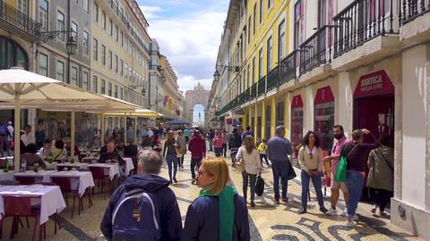 A hyperlapse running down Rua Augusta in Lisbon / Lisboa, Portugal Footage