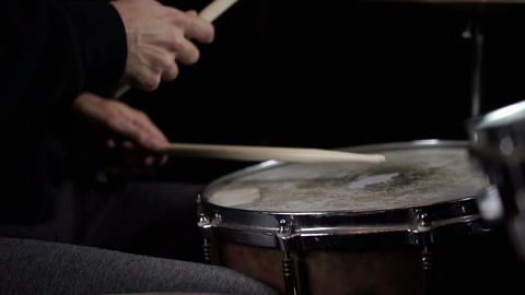 Drummer Playing Drums in Music Studio. Slow Motion in 120 fps Live Action