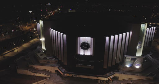 Sofia Bulgaria -14 10 2019: Amazing lights of the National Palace Of Culture in Footage