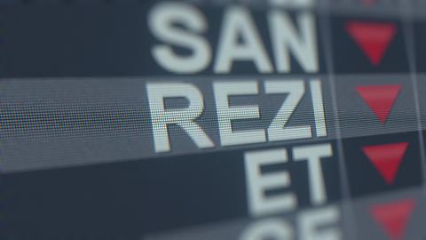 Stock exchange ticker of RESIDEO TECHNOLOGIES REZI with decreasing arrow GIF