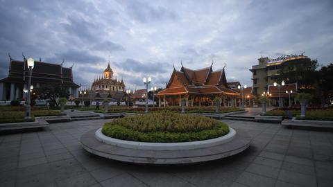 Famous temple Loha prasat (metallic castle) of Ratchanadda Temple in Bangkok, Thailand Footage