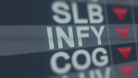 INFOSYS ADR INFY stock ticker with decreasing arrow. Editorial crisis related GIF