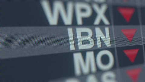 ICICI BANK ADR IBN stock ticker with decreasing arrow, conceptual Editorial GIF