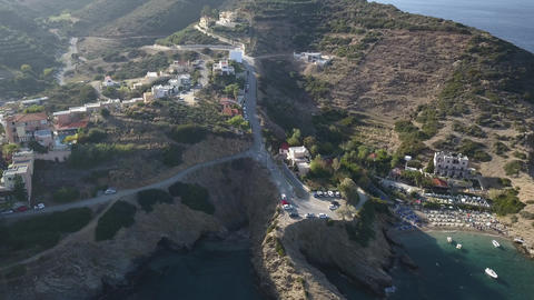 Aerial footage of a small beach in Bali village. Crete, Greece Footage