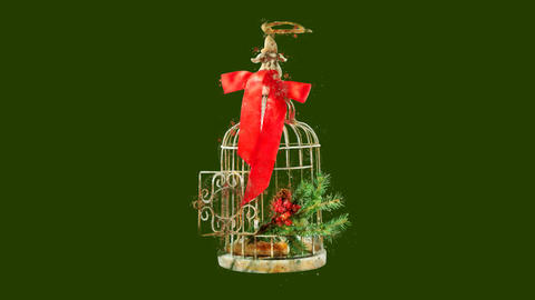 Watercolor Christmas tree decoration - birdcage and bow, on the alpha channel CG動画