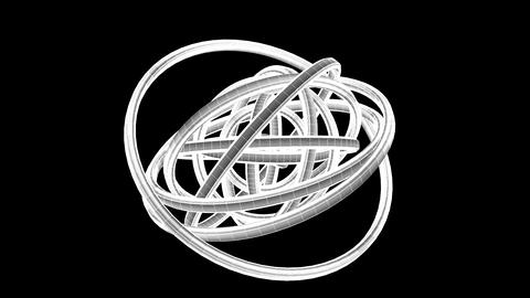White Wire Frame Circle Abstract On Black Background CG動画