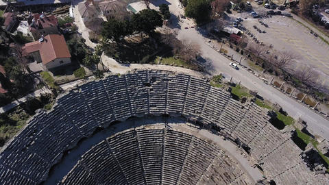 Aerial footage of the Antique Theater. Side, Turkey Archivo