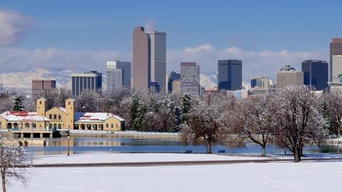 Denver Skyline in Winter Snow Pan Right Footage
