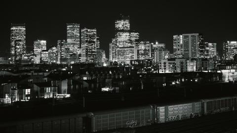 Denver City Lights Timelapse High Contrast BW Footage