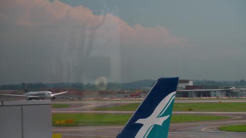 Widebody airplane departing GIF