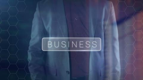 A man in a suit presses a virtual button Business Live Action