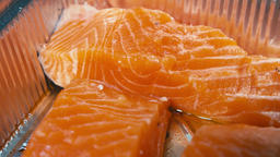 Red salmon fillet Close up GIF