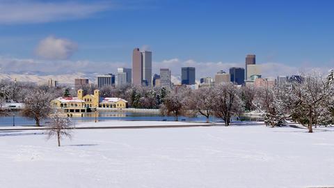 Denver Skyline Winter Snow Wide Shot Time Lapse Footage