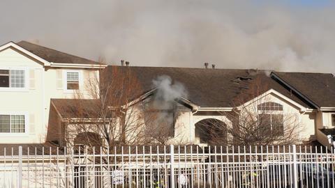 Condo Fire Smoke Billowing out of Window GIF