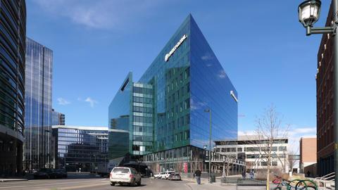 Liberty Global Building in Denver Wide Shot Footage