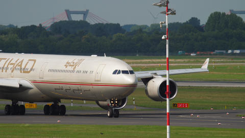 Widebody Aircraft taxiing before departure GIF