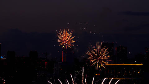 Colorful of fireworks at City day festival GIF