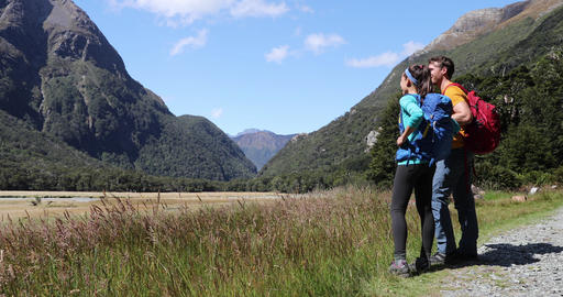 New Zealand hikers backpackers tramping on Routeburn Track, famous trail Footage