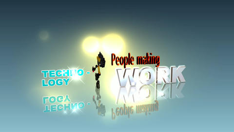 179 3d animated logo template for business and technology with words people making technology work Animation