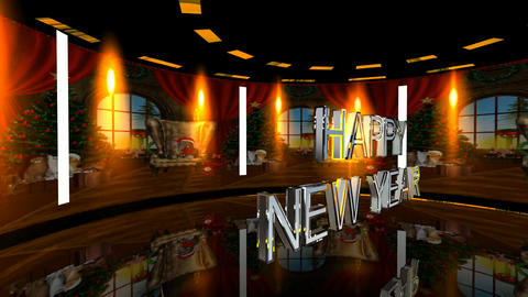 178 3d animated baqckground for New Year and Christmas with words Happy NEW YEAR Animation