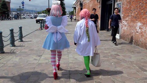 Teens Teenagers Girls Women Doing Cosplay At Festival In Japan Live Action