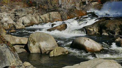 Rocky River background with autumn colors Footage