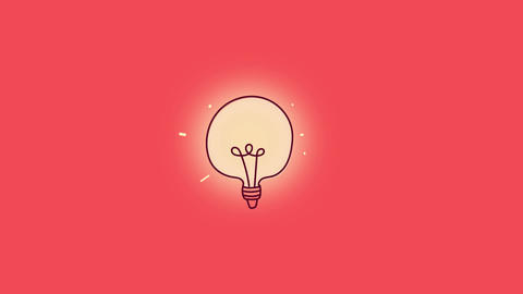 Cartoon style lightbulb animation After Effects Template