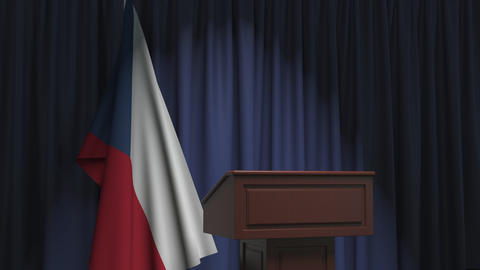Flag of the Czech Republic and speaker podium tribune. Political event or Live Action