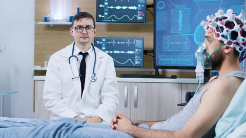 Doctor in a brain clinic making rotation hand gesture in the air Live Action