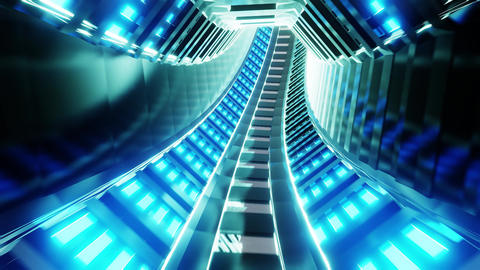 futuristic scifi train / subway tunnel corridor 3d illustration motion Animation