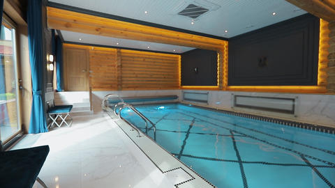Interior of wellness and Spa swimming pool Live Action