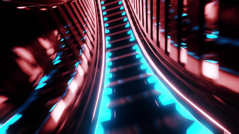 abstract glowing futuristic scifi subway tunnel corridor 3d rendering live Animation
