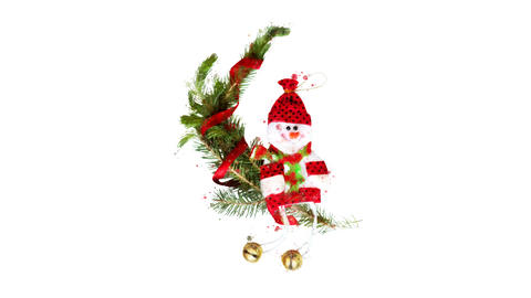 Watercolor Christmas decoration - snowman with fir twigs, on the alpha channel Videos animados