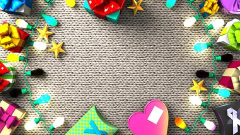 Garland Lights and Colorful Gift Boxes フォト