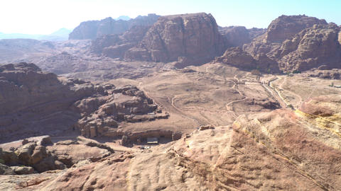 View of Petra Jordan ancient city of Petra, Nabatean rock-cut temple of ビデオ