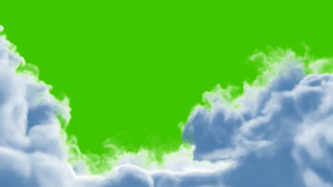 Clouds Opening and Closing on a Green Background Animation