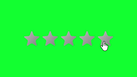 Subtle Gradient 5 Stars Rating Mouse Click on Green Screen Animation