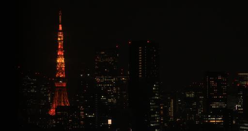 A night urban cityscape in Shinagawa Tokyo high angle long shot Live Action